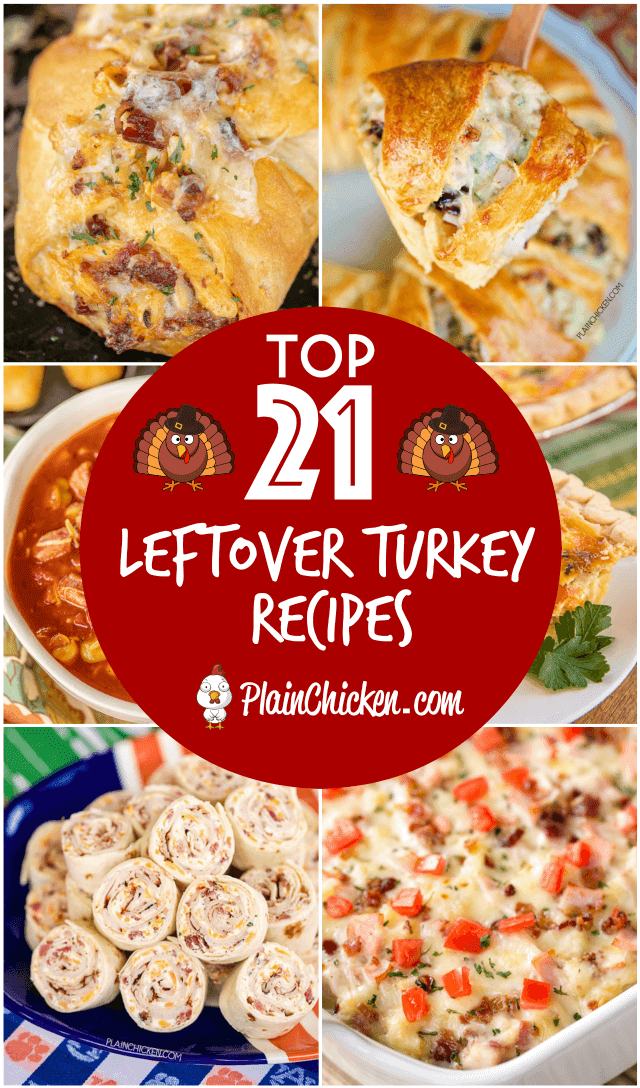 Top 21 Leftover Turkey recipes - recipes to help use up all that leftover holiday turkey. Something for everyone. You can make several of the recipes and freezer for a quick meal later. #turkey #leftovers