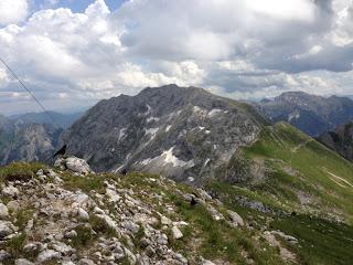Blick auf die Nordwand der Hochplatte - bester Wettersteinkalk