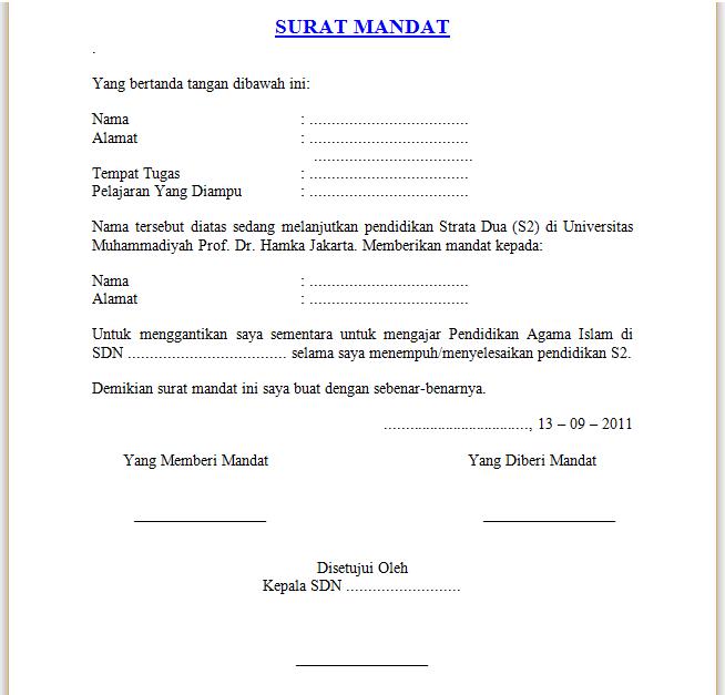 Contoh Draft Surat Mandat Untuk Guru Pengganti