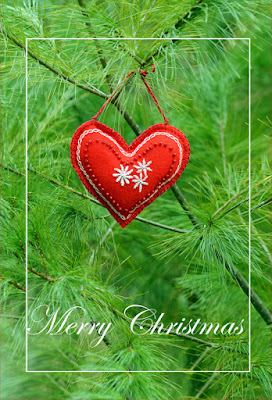 pine and red christmas heart