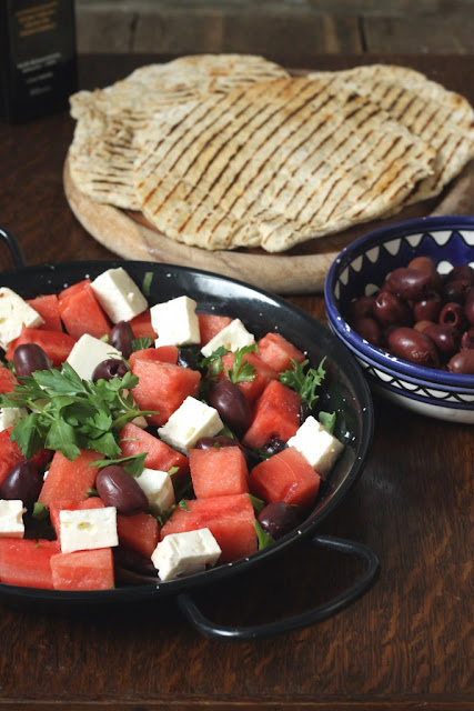 Watermelon Feta Salad with Quick Sumac Yogurt Flatbreads