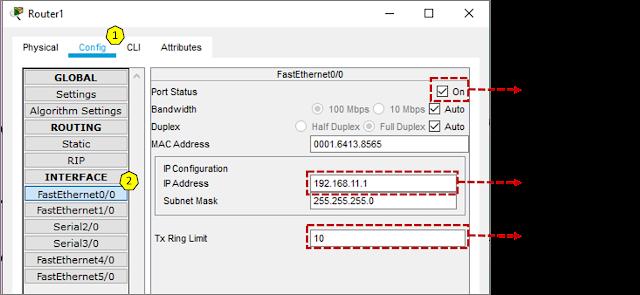 Konfigurasikan router jaringan 1