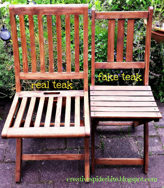 comparison between real teak chair and cheap wooden chair made look like a teak chair