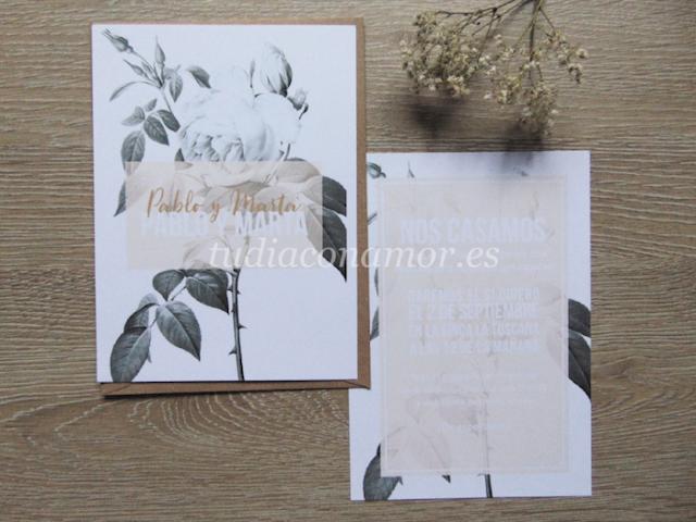 Invitaciones de boda bonitas y románticas con flores