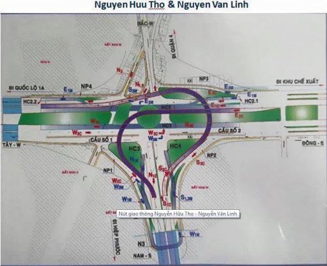 Nút giao thông cầu vượt và hầm chui tạ Nguyễn Văn Linh - Nguyễn Hữu Thọ.