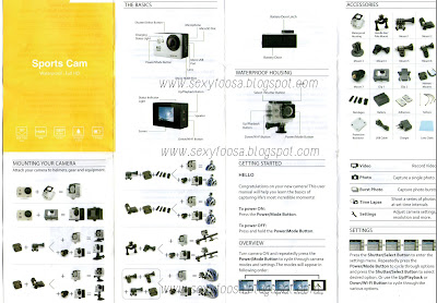 front portion scanned manual of sports action camera w7 1080p with wifi