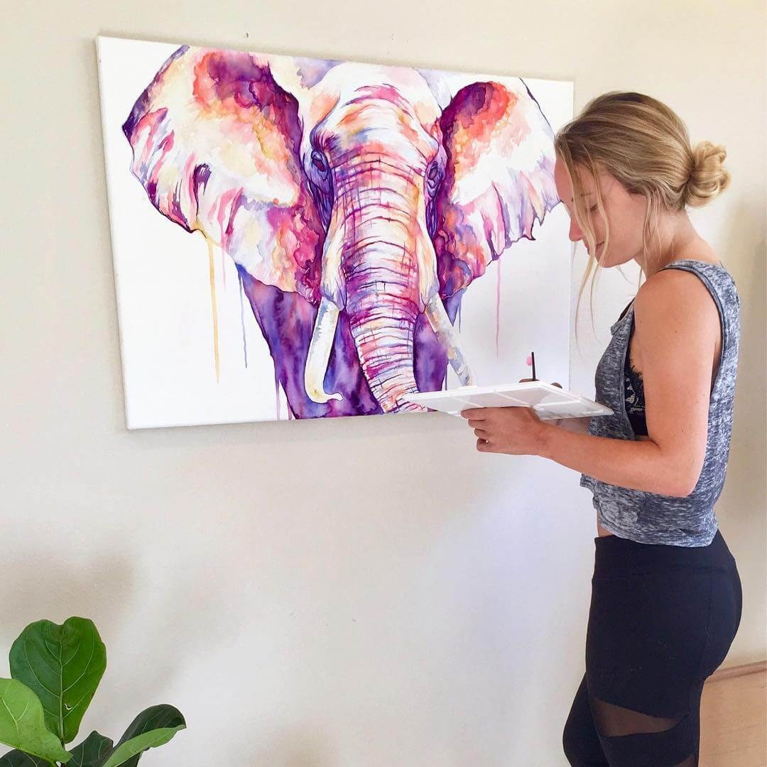 07-Elephant-Lindsay-Michelle-Colorful-Domestic-and-Wild-Animal-Paintings