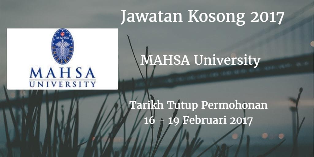 Jawatan Kosong MAHSA University 16 - 19 Februrai 2017
