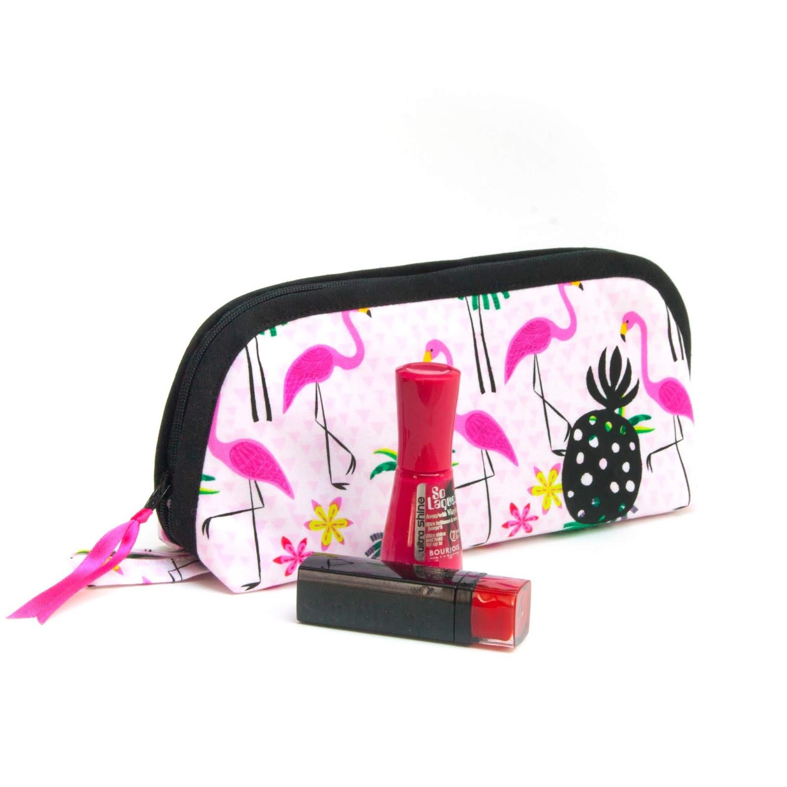 Trousse de toilette, d'école, à pharmacie,à maquillage, grande ouverture, fait-main, tissu flamants roses, motif ananas, doublée, 20x6x10 cm