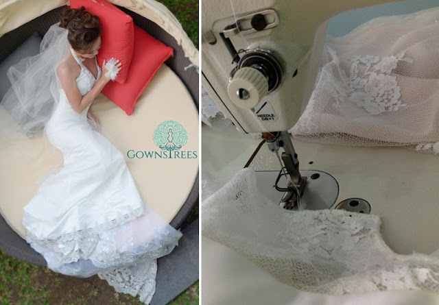sewing wedding dress
