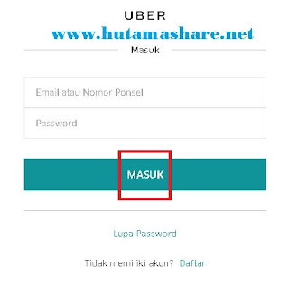 Halaman Login Uber Lewat Komputer