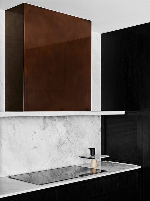 Kitchen, copper hood | Hampton Penthouse. Interior design by Huntly, photo by Brooke Holm