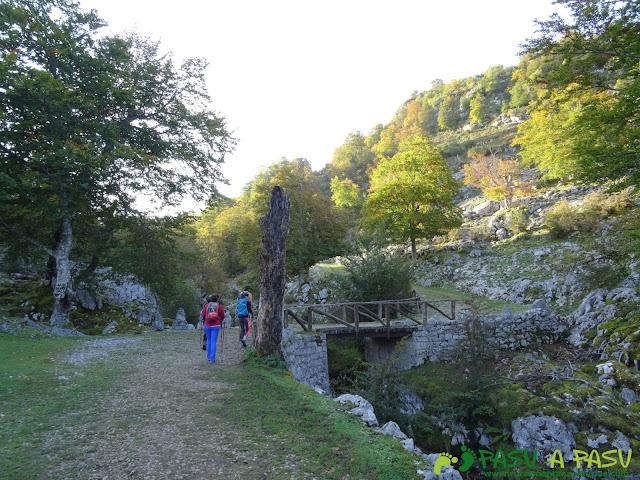 Ruta Requexón - Cotalba: Cruzando el puente sobre el Pozo del Alemán