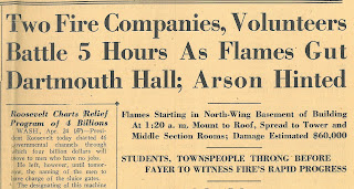 "Headline article reading ""Two Fire Companies, Volunteers Battle 5 Hours as Flames Gut Dartmouth Hall; Arson Hinted."""