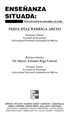 """Enseñanza situada: vínculo entre la escuela y la vida"""" de Frida Díaz Barriga"""