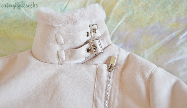 Light pastel lilac/lavender faux suede shearling moto oversized coat from SheIn