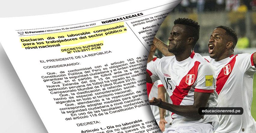 ES OFICIAL: Hoy es día no laborable por clasificación de Perú al Mundial 2018 (D. S. Nº 110-2017-PCM)
