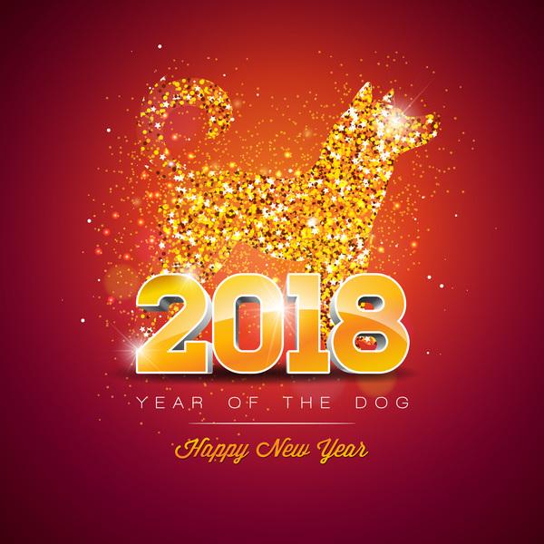 Happy new year 2018 year of dog vectors design free vector