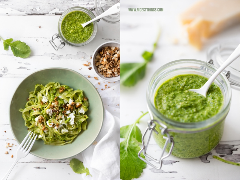 Tagliatelle mit Radieschengrün Pesto Rezept