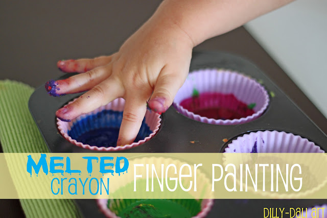 Melted Crayon Finger Painting