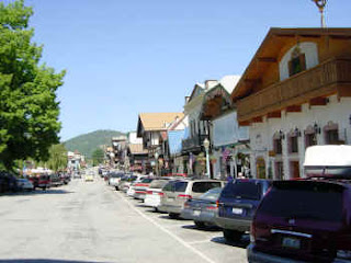Storefronts of German themed businesses at Leavenworth, Washington