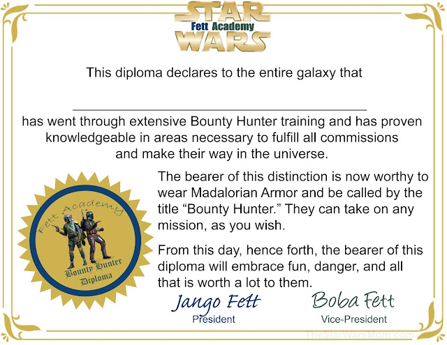 Fett Academy Diploma - Boba Fett and Jango Fett Star Wars Bounty Hunter Certificate