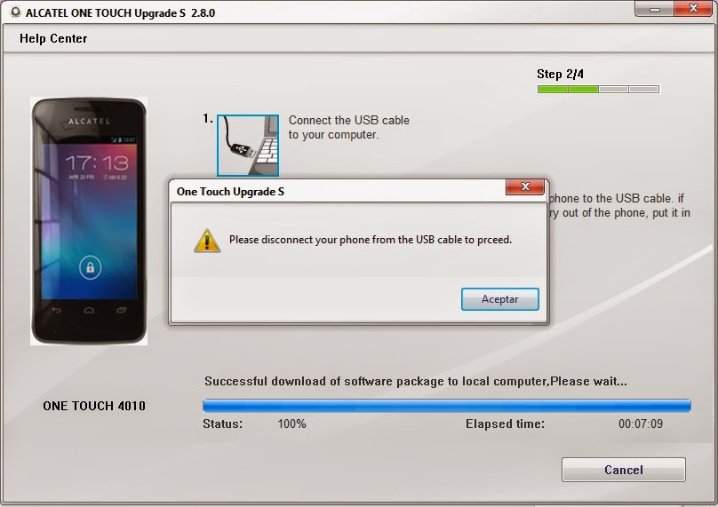 Alcatel one touch 4010a actualizar firmware