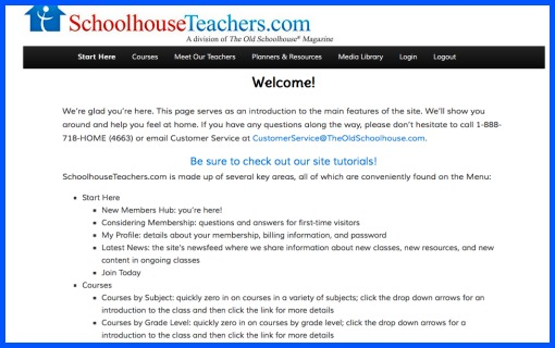 Getting started page for homeschool curriculum