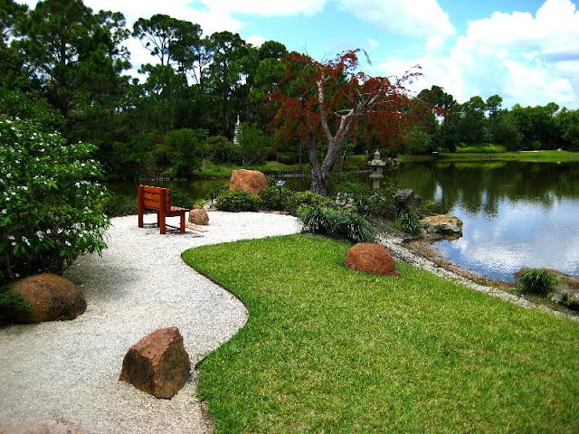 Jardim japonês em Morikami Japanese Gardens em Miami