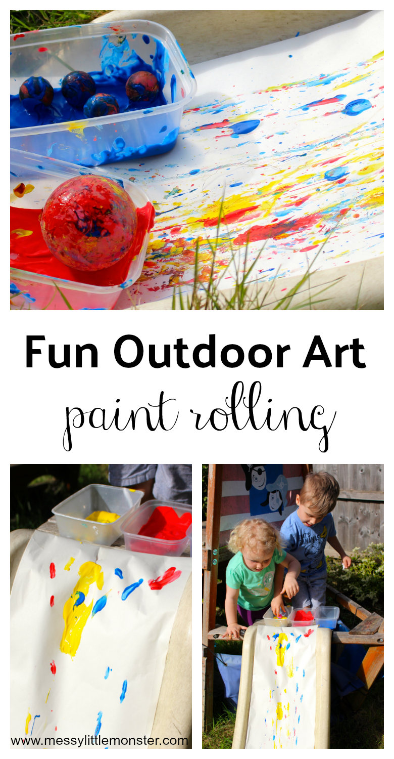Paint rolling on a slide is such a fun outdoor art idea for kids to try this summer. Slide painting can get messy but toddlers, preschoolers (and older kids too!) will totally love this easy painting idea.