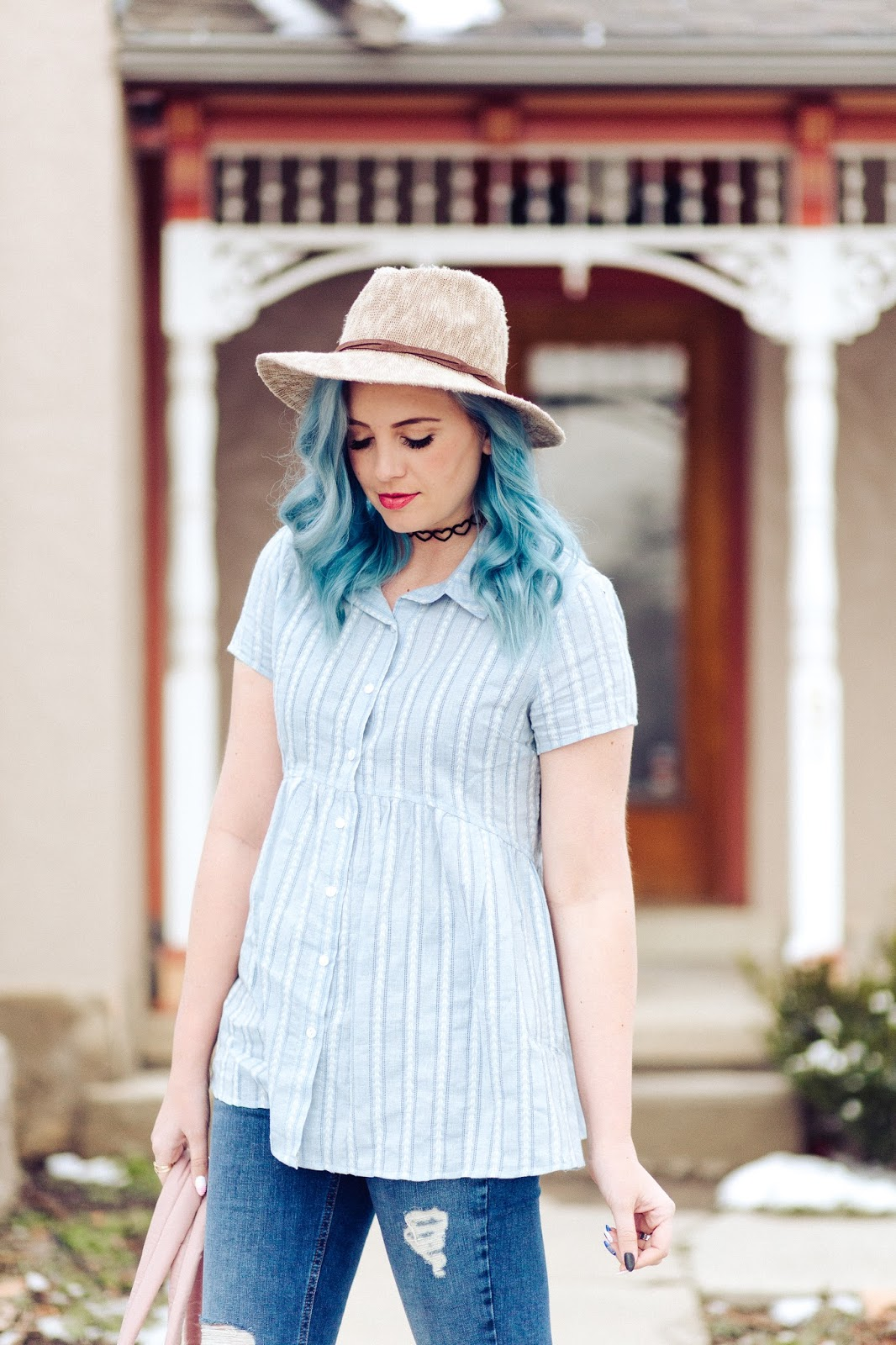 Spring Look, Spring Outfit, Blue Hair