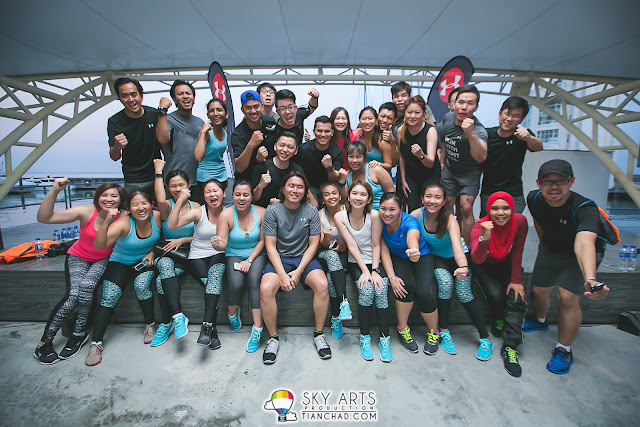 Group photo with Under Armour athletes of the day after a great workout!! - Straits Quay Penang