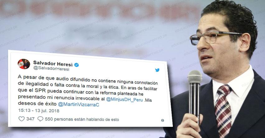 Ministro Salvador Heresi renunció al Ministerio de Justicia y Derechos Humanos - MINJUS - www.minjus.gob.pe
