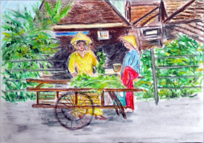 Art de vivre la peinture de peintrefiguratif pastel gras exotique la marchande ambulante for Peinture pastel gras
