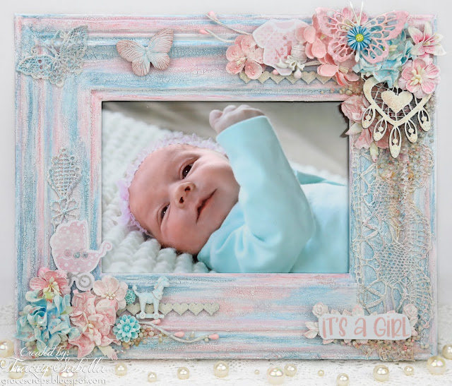 Shabby Mixed Media Baby Frame by Tracey Sabella for ScrapBerry's. #scrapBerrys #mixedmedia #shabbymixedmedia #finnabair #primamarketing #dustyattic #letterit Please click photo for details.