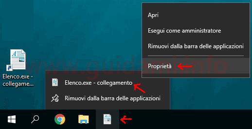Aprire proprietà file aggiunto a barra applicazioni Windows 10