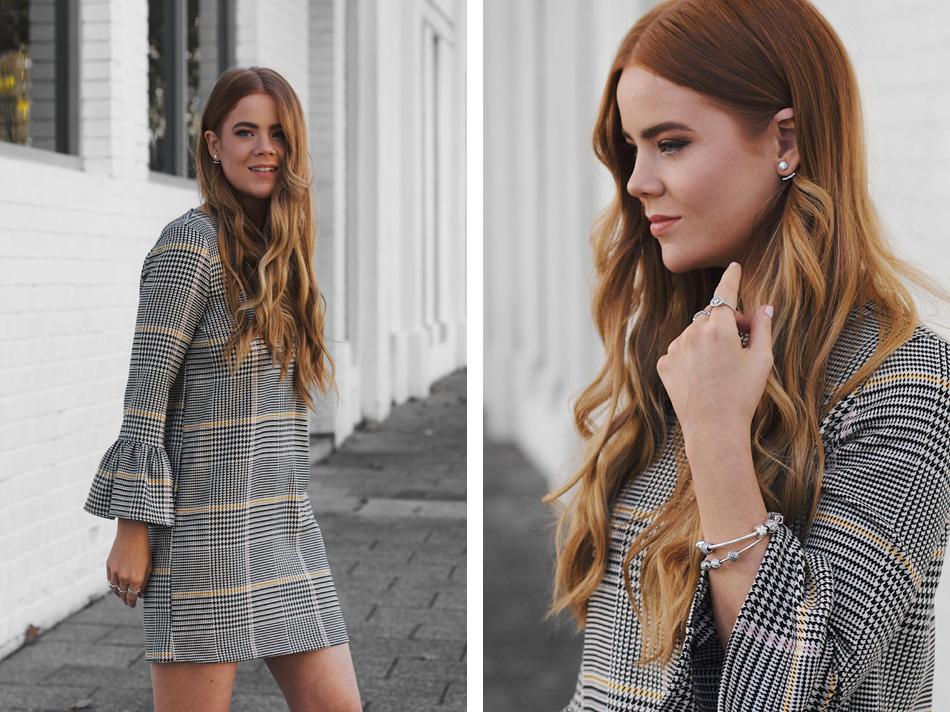 Zara houndstooth dress, Rebecca Minkoff Leo clutch, Kiara King
