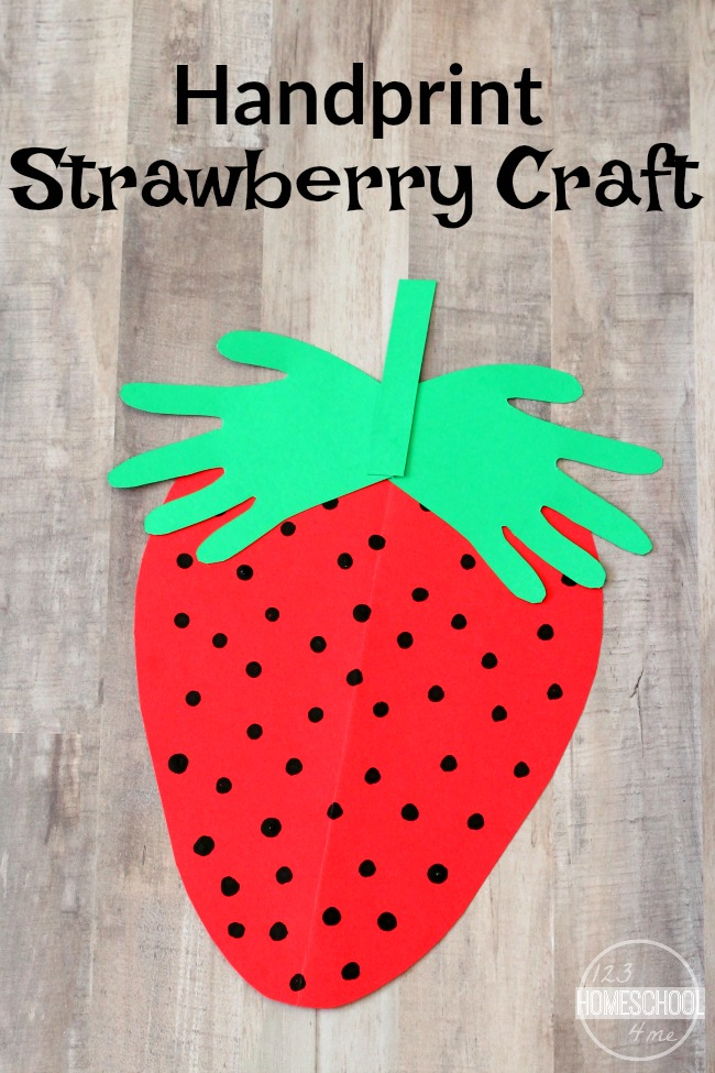 Handprint strawberry craft for Art and craft for toddlers
