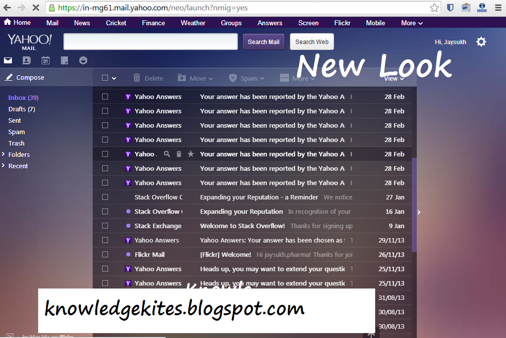 Switch Beck to old yahoo mail look step 1