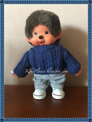 kiki monchhichi monchichi monkiki pull tricot handmade knitting fait main poupée dolls vêtement