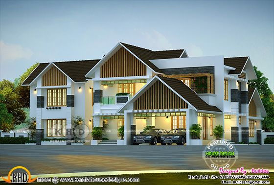 Modern sloping roof luxury residence