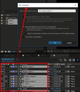 """Ctrl A semua shape lalu tekan Shortcuts Ctrl + Shift + C untuk membuat """"Pre Compose"""""""