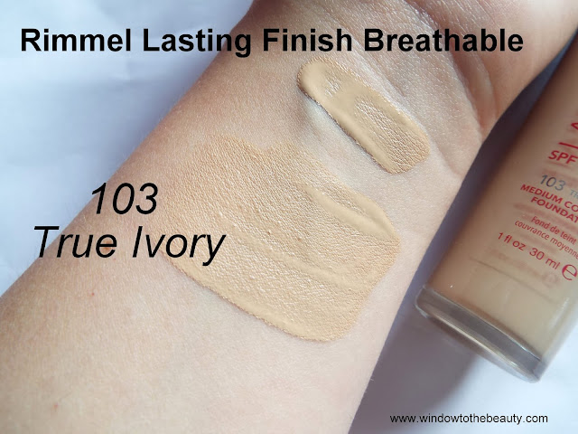 Rimmel foundation 103 true ivory swatches