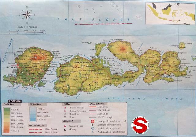 Gambar Peta Atlas Provinsi NTB (Nusa Tenggara Barat)