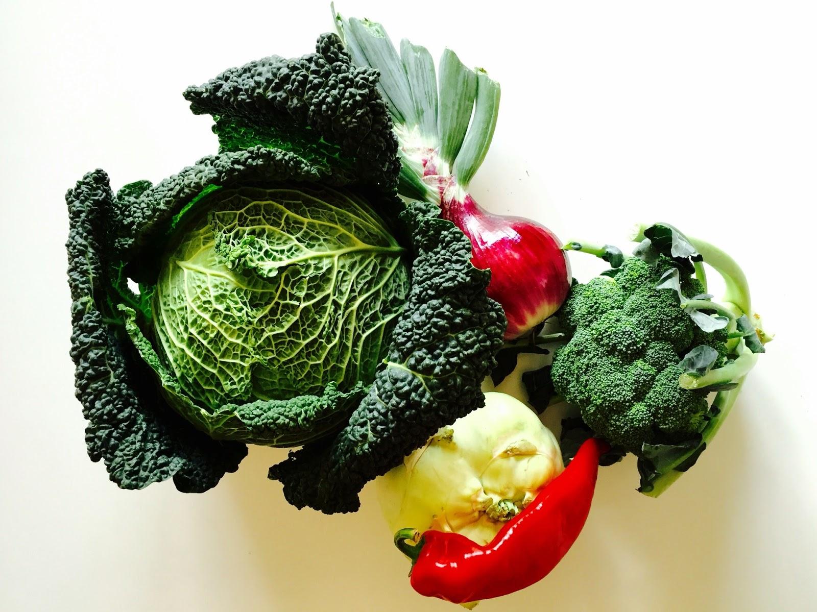 キャベツとブロッコリーと玉葱などの野菜