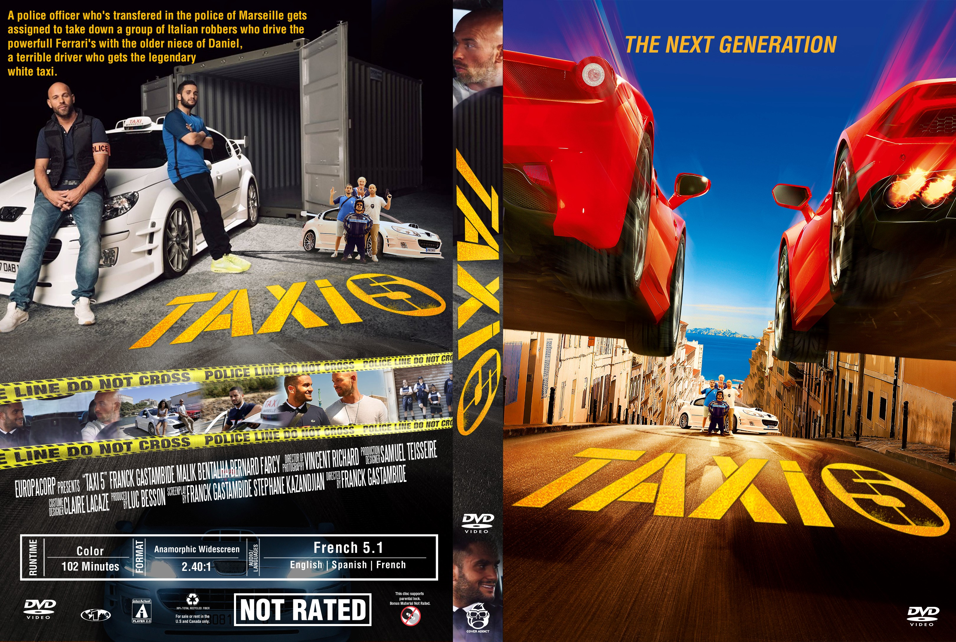 taxi 5 dvd cover cover addict freecovers. Black Bedroom Furniture Sets. Home Design Ideas