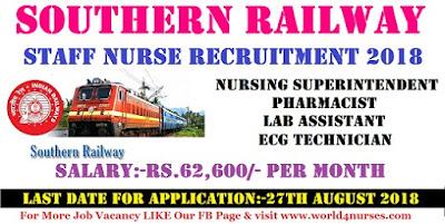 Staff Nurse Vacancy in Southern Railway Chennai 2018