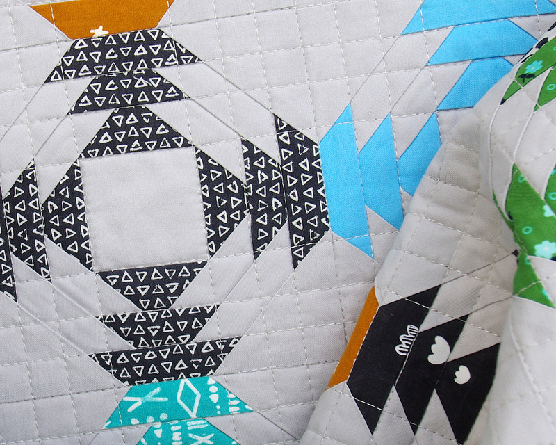 Quilting detail ~ straight line grid quilting.