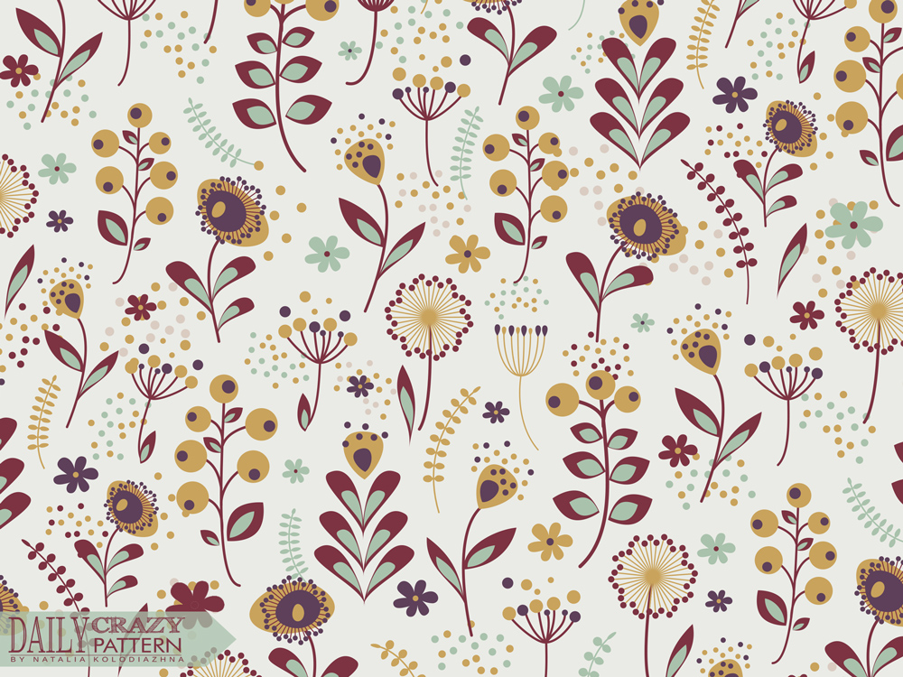"Final floral pattern for 366 ""Daily Crazy Pattern"" project"