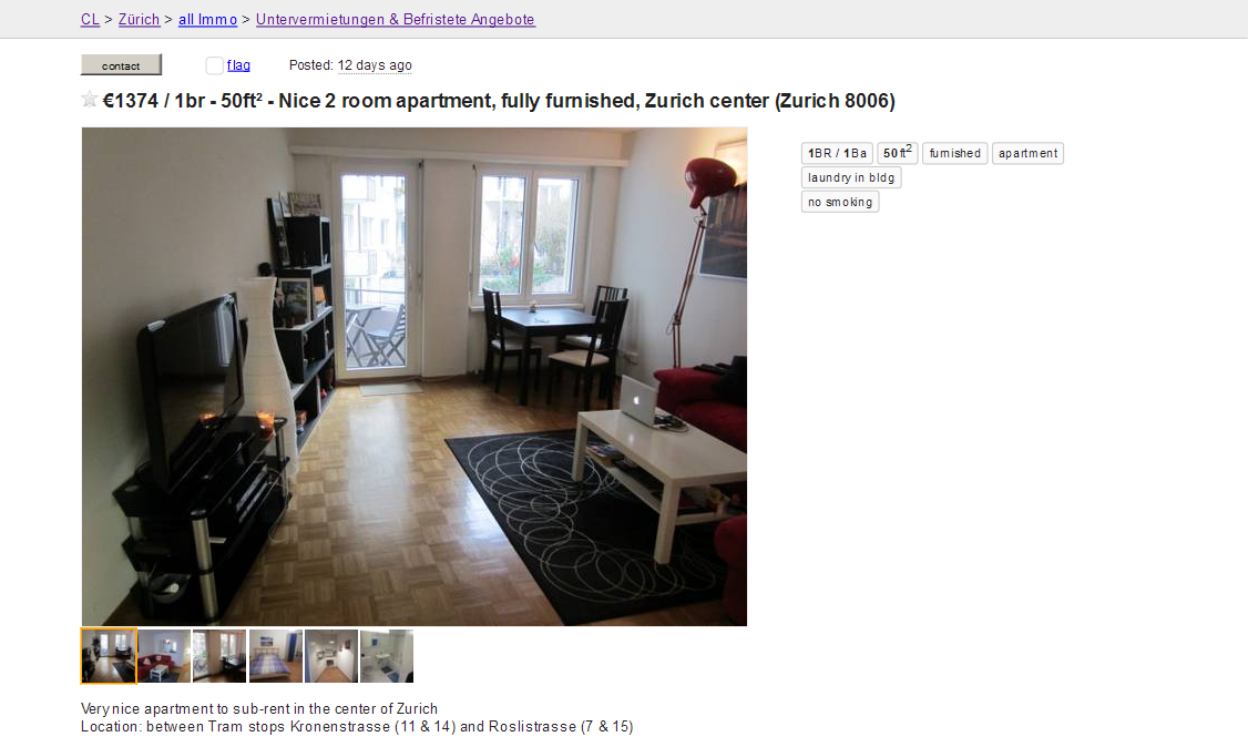 Rent Apartment Zurich